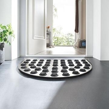 Betz Edelstahl Fußmatte halbrund mit Gummieinlage, Eingangsmatte Größe: 60x40x1,5 cm -