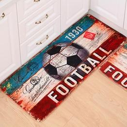 Delmkin Badvorleger Kinderzimmer Fußmatte Teppich WC-Vorleger Duschvorlage Anti-Rutsch Badeteppich - 50 * 120cm (Fußball) -