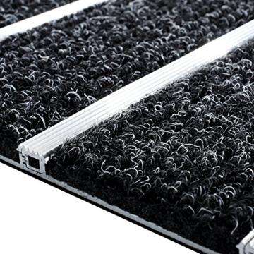 Edle Alurahmen Fußmatte für den Eingangsbereich - Rostfrei - Optimale Schmutzfangwirkung - Größe: 42x60 cm -