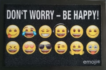 Emoji - Don't worry - Be happy! - Fußmatte - Größe 60x40 cm - Material Polypropylen -