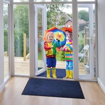 etm® Schmutzfangmatte - Note 1,6: Sieger Preis-Leistung - Fußmatte in vielen Größen und Farben (Blau-Schwarz, 200x200 cm) -