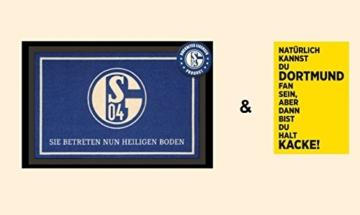 """FC Schalke 04 Fußmatte """"Heiliger Boden"""" & Postkarte """"Dortmund"""" - Set ~ -"""