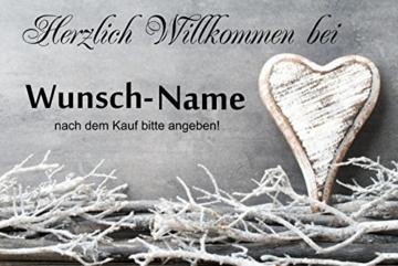 """ Herzlich willkommen (Wunschname) "" - Fussmatte bedruckt Türmatte Innenmatte Schmutzmatte lustige Motivfussmatte -"