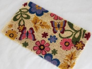 Homescapes Schmutzfangmatte Fußmatte Frühling 45 x 75 cm (Breite x Länge) Türmatte aus 100% Kokosfaser mit rutschfestem Gummirücken strapazierfähiger Fußabtreter -