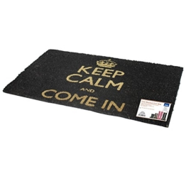 JVL Keep Calm and Carry on Fußmatte, PVC-Rückseite, 40 x 70 cm, Schwarz -
