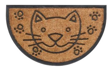"""Kokos Fussmatte 45x75cm halbrund """"Katze"""" Schmutzfangmatte Türmatte Schmutzmatte Fußabtreter Kokosmatte -"""