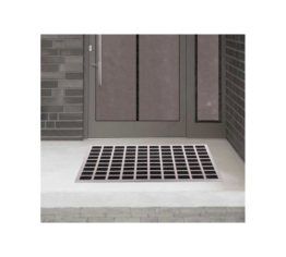 Luxus Fußmatte aus gebürstetem Edelstahl mit Gummieinlagen Eingangsmatte Fußabtreter 60x40cm -
