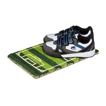 Relaxdays Fußmatte Kinder mit Bild Motiv Fußball als Türvorleger klein für Kinderzimmer aus Kokos mit rutschfestem Boden aus Gummi Mini Fußabtretet Türmatte HBT 1,5 x 40 x 25 cm, Motiv: Fußballplatz -