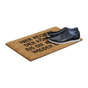 Relaxdays Fußmatte Kokos KÖNIGIN 40 x 60 cm Kokosmatte mit rutschfester PVC Unterlage Fußabtreter aus Kokosfaser als Schmutzfangmatte und Sauberlaufmatte Fußabstreifer für Außen und Innen Matte, braun -
