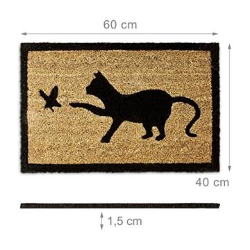 Relaxdays Fußmatte Kokos Motiv KATZE 40 x 60 cm Kokosmatte mit rutschfester PVC Unterlage Fußabtreter aus Kokosfaser als Schmutzfangmatte und Sauberlaufmatte Fußabstreifer für Außen und Innen, braun -