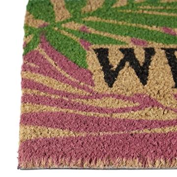 Relaxdays Fußmatte Kokos PALMENBLÄTTER 40 x 60cm Kokosmatte mit rutschfestem PVC Bodem Fußabtreter aus Kokosfaser als Schmutzfangmatte und Sauberlaufmatte Fußabstreifer für Außen und Innen Matte, bunt -