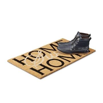 Relaxdays Fußmatte Kokos Spruch HOME SWEET HOME heller Fußabtreter mit rutschfester PVC Unterlage Matte aus Kokosfasen als Sauberlaufmatte und Läufer Türvorleger HBT: 1,5 x 75 x 45 cm, natur / braun -