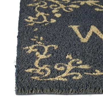 Relaxdays Fußmatte Kokos WELCOME 40 x 60 cm Kokosmatte mit rutschfestem PVC Bodem Fußabtreter aus Kokosfaser als Schmutzfangmatte und Sauberlaufmatte Fußabstreifer für Außen und Innen Matte, schwarz -