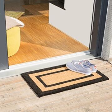 Relaxdays Fußmatte lang aus Kokos & PVC optimal für Balkon, Flur, Veranda und Terrasse als Schmutzfangmatte mit rutschfester Gummi Unterseite HBT: ca. 75 x 45 x 1,5 cm als Fußabtreter, natur -