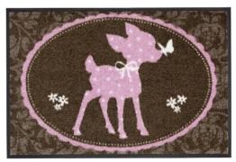 Salonloewe Fußmatte waschbar Motiv Alpenglück Bambi 50x75 cm Sauberlaufmatte Fußabtreter -
