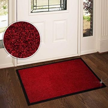 Schmutzfangmatte ColorLine | viele Größen und Farben zur Auswahl | Fußmatte für Innenbereich | Mono Color Rot 120x180 cm -