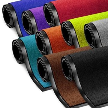 Schmutzfangmatte ColorLine | viele Größen und Farben zur Auswahl | Fußmatte für Innenbereich | Mono Color Schwarz 60x180 cm -