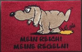 Wash+Dry Waschbare Fußmatte ©Uli Stein HUND - Mein Reich! Meine Regeln! 50x75cm lustiger Fußabstreifer mit Cartoon Motiv -