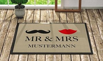 Fußmatte 'Mr. & Mrs. ' Inkl. Ihrem Nachnamen - Personalisierte Schmutzfangmatte, Fußmatte:50 x 70 cm -