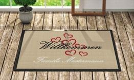 Individuell bedruckte Fußmatte - 'Herzchen' in 3 Größen waschbar bei 40°, Größe der Fußmatte:40 x 60 cm -