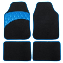 Auto Fußmatten Universal Teppich Riffelblech mit PU Leder, Schwarz Blau , AM7166 -