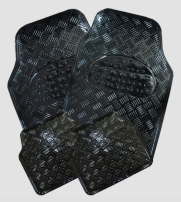 WOLTU AM7106 Universal Auto Fußmatten Matten Kunststoff ALU LOOK Riffelblech schwarz -