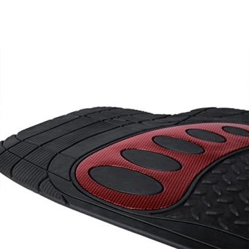 WOLTU AM7176rt Universal Auto Fußmatten Gummimatten Gummi Matten Set Zuschneidbar Schwarz/Rot -